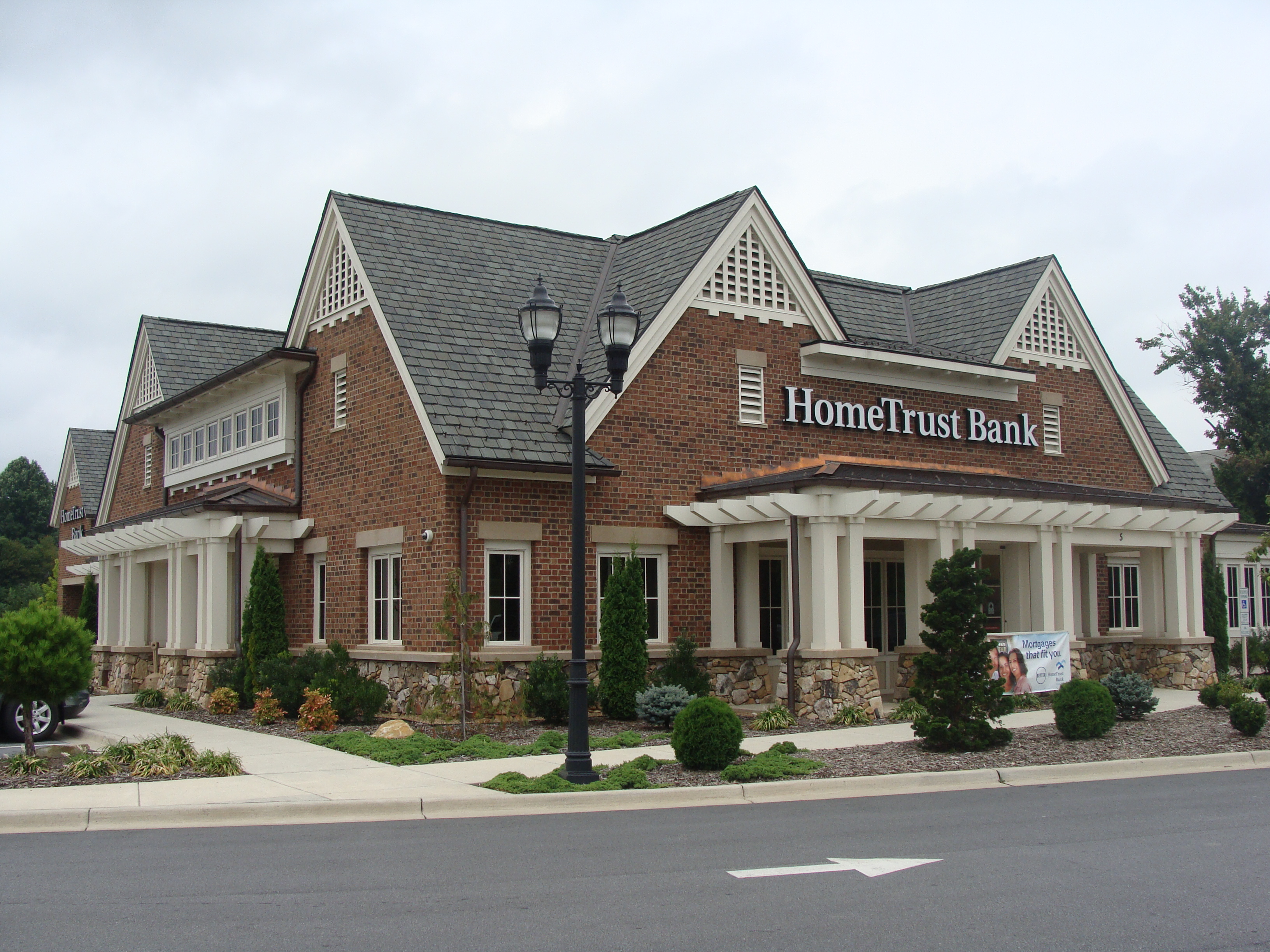 Façade of HomeTrust Bank on Northridge Commons Parkway, Weaverville NC