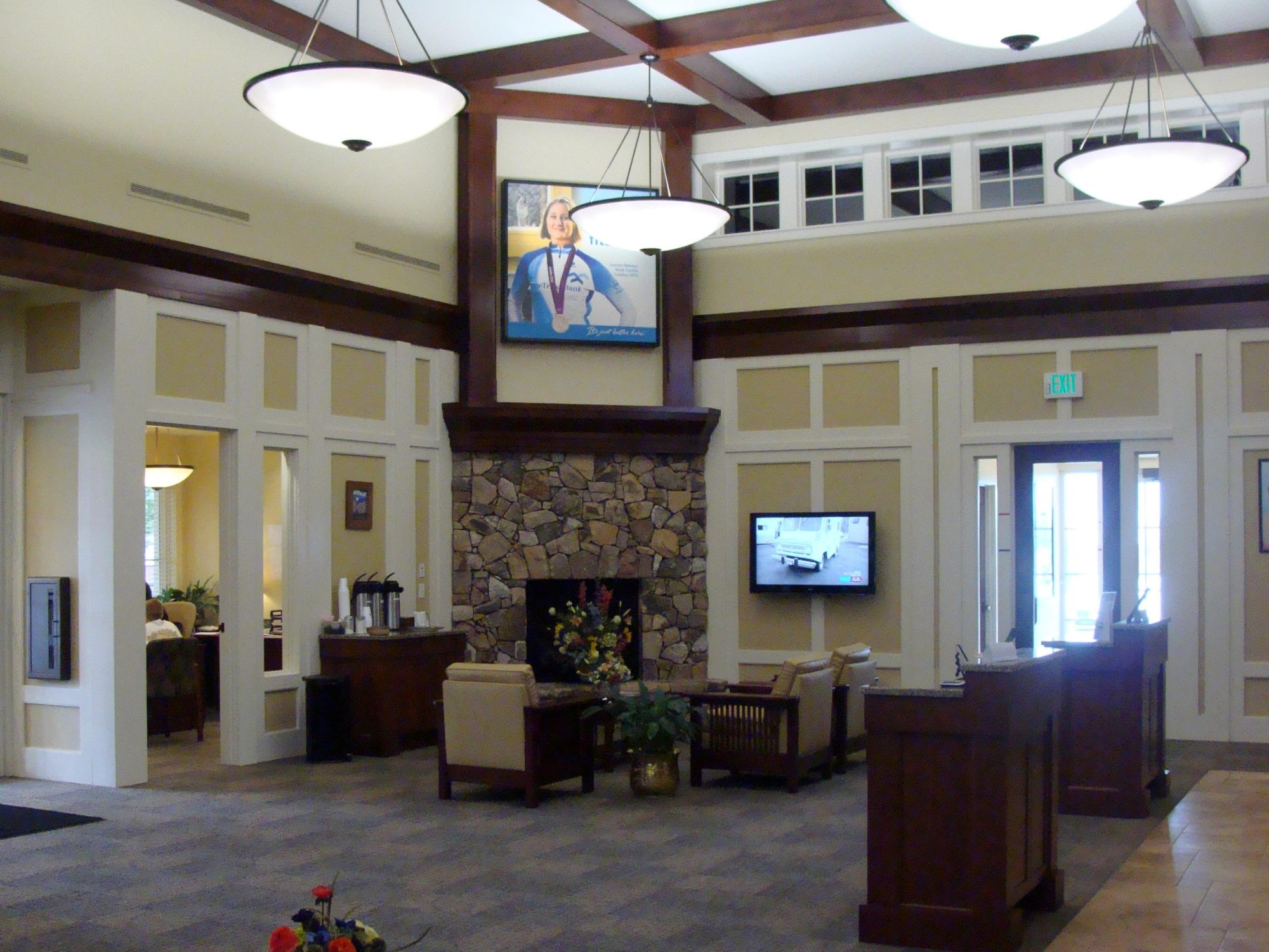 Lobby with Milliken Carpet Tile and St Timothy Lounge Chairs