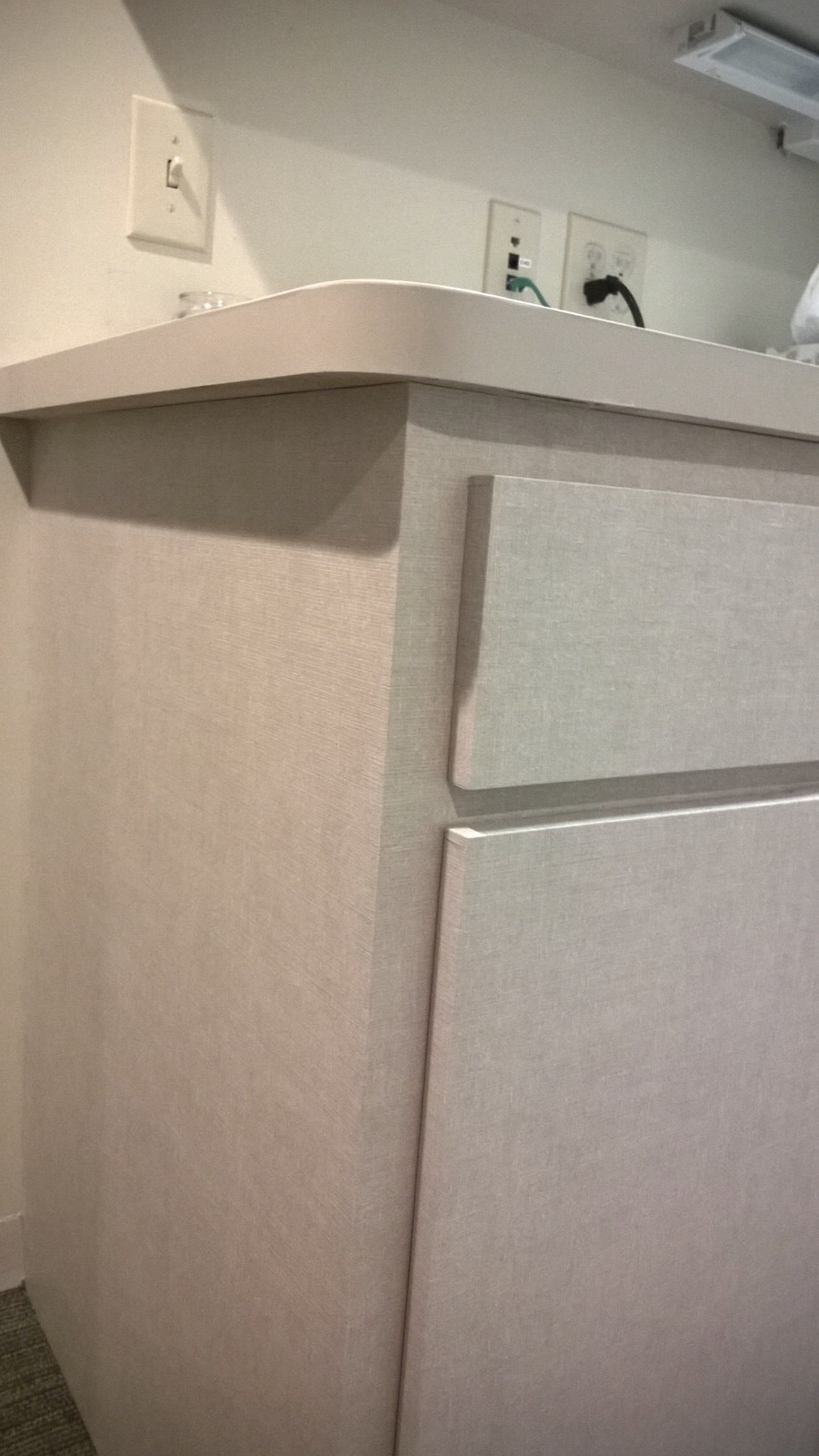 Install of DesignTex DiNoc product over existing cabinets and tops. Specified by IIS, installed by Who Did That, Inc.