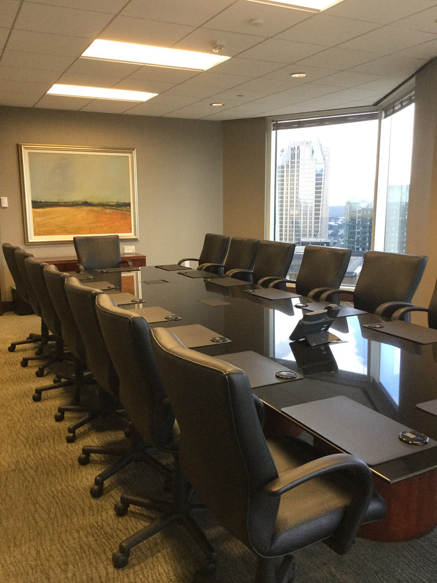 35th Floor Conference Room with Milliken Pen & Ink Undulate Broadloom Carpet and Eykon Lanark Baccarat Type II Wallcovering.