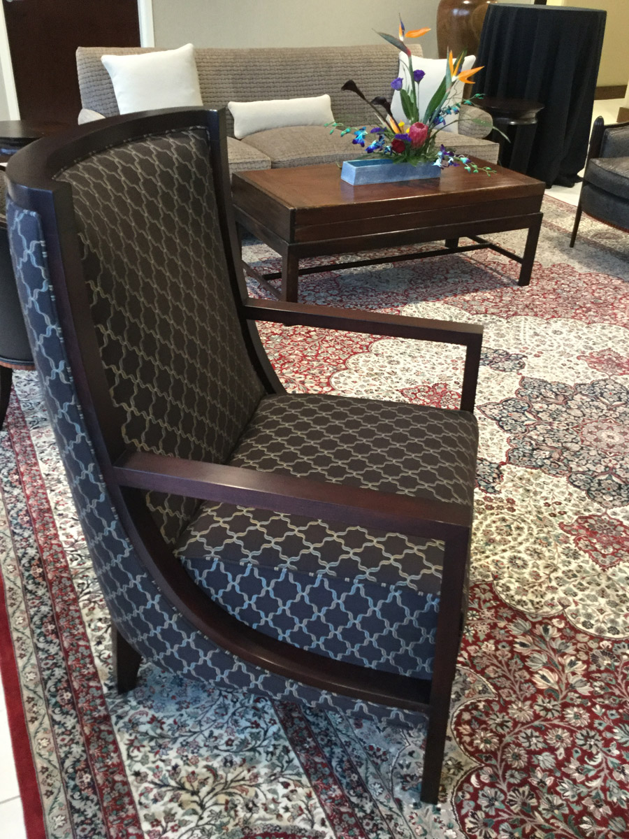 35th Floor Lobby Cabot Wrenn Window Lounge Chairs in Bernhardt Flip fabric and one of a kind oriental rug from Zaki Rugs in Highpoint, NC.
