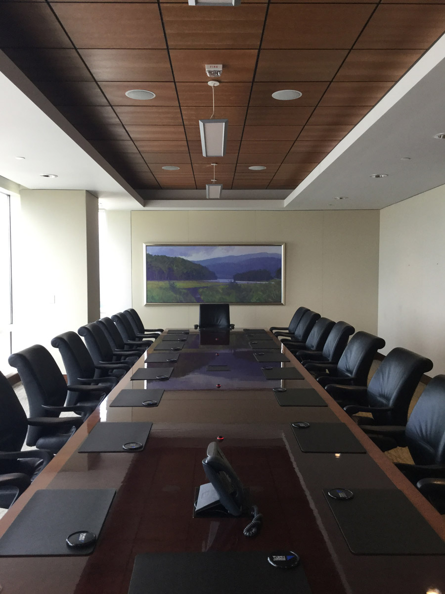 35th Boardroom with Milliken Pen & Ink Undulate Broadloom Carpet, NovaWall in Essence Fabric, USG True Wood Ceiling Panels and Peerless Lighting Pendant Lighting.