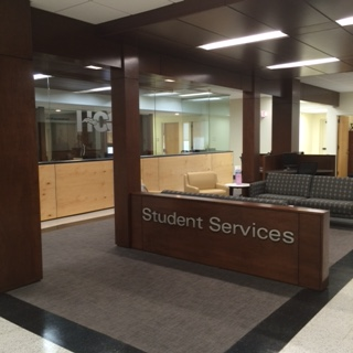 Student Services Entrance with Lowenstein Cubic Sofa in Momentum Centric and Lowenstein Episode Guest in Momentum Beeline.