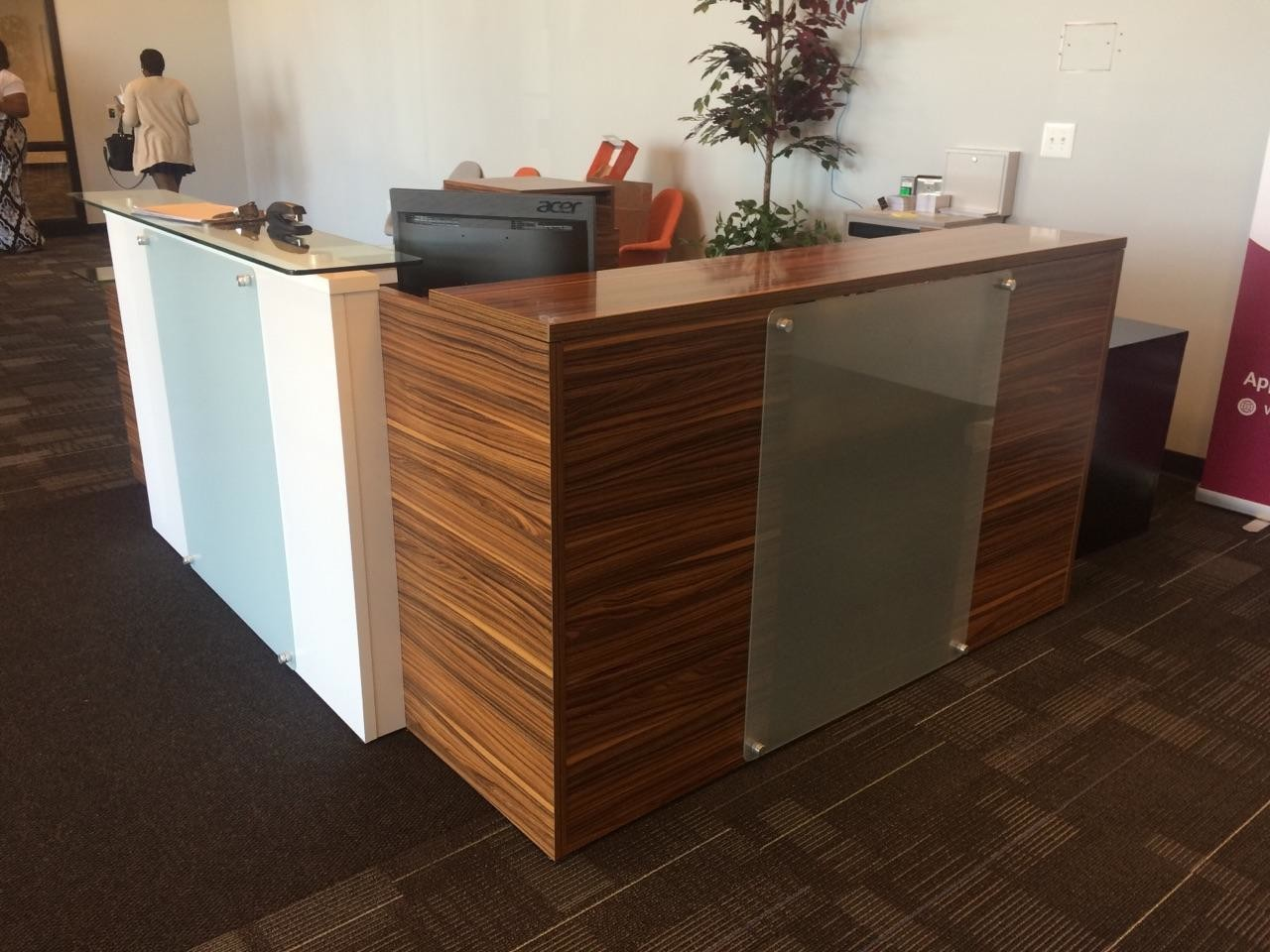 Reception area with National Office Furniture Waveworks Reception Desk