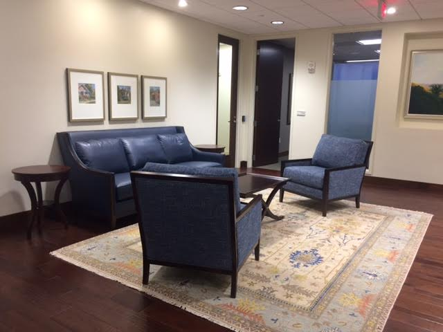 37th Floor New Furniture Specified by IIS. Fairfield 2736-50 Sofa in Anzea Western Willie fabric, Fairfield 2788-01 Lounge Chair in Fairfield 3134 fabric, Fairfield 8120-93 Coffee Table, Fairfield 8105-ET End Table and new Oriental rug from Charlotte Rug Gallery in Charlotte, NC.